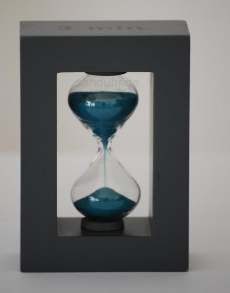 3-Minuten-Sanduhr graues Gestell türkiser Sand